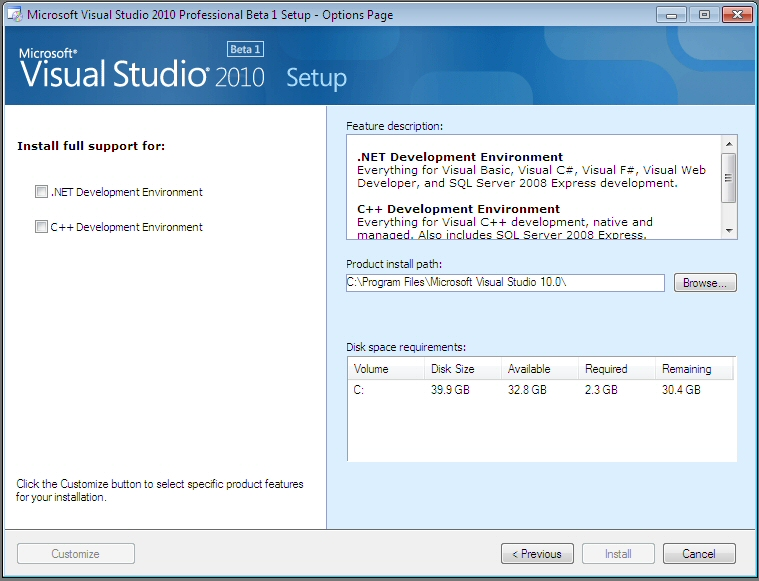 Visual Studio 2010 Install Screenshots | Sean's Stuff